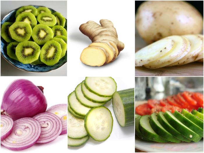 slicing of vegetables fruits